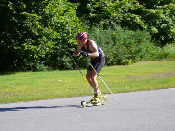 Andrew Wynd headed out for his 30km rollerski.