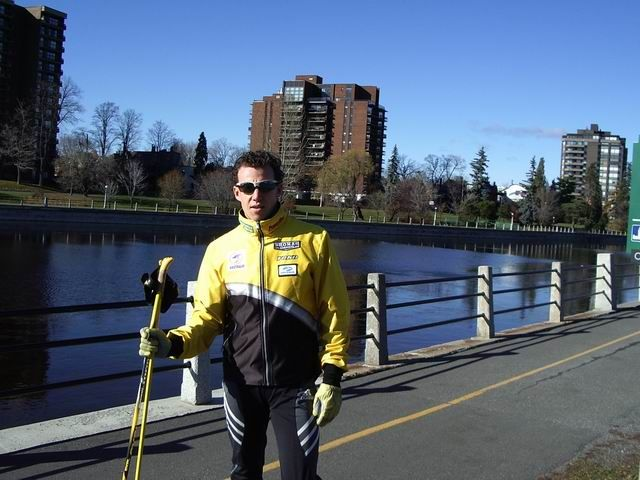Andrew Wynd rollerskiing along the Rideau Canal in Ottawa