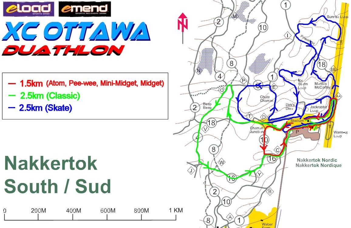 2008 XC Ottawa duathlon course map