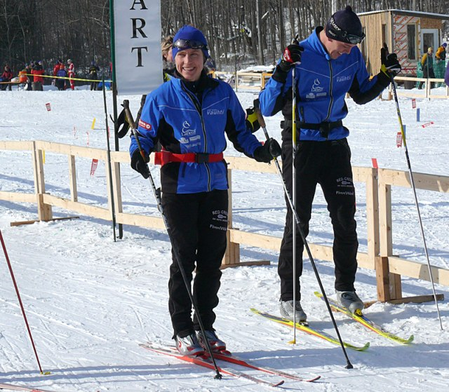 XCOttawa skiers Megan and Brian all smiles as they test skis, chat and get ready to race.