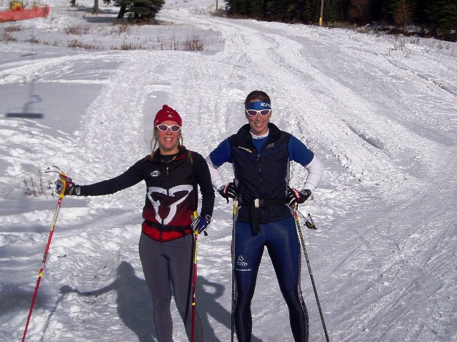 Malory Deyne and Megan McTavish skiing