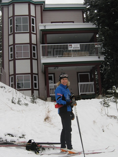 Sheila Kealey skiing at Silver Star
