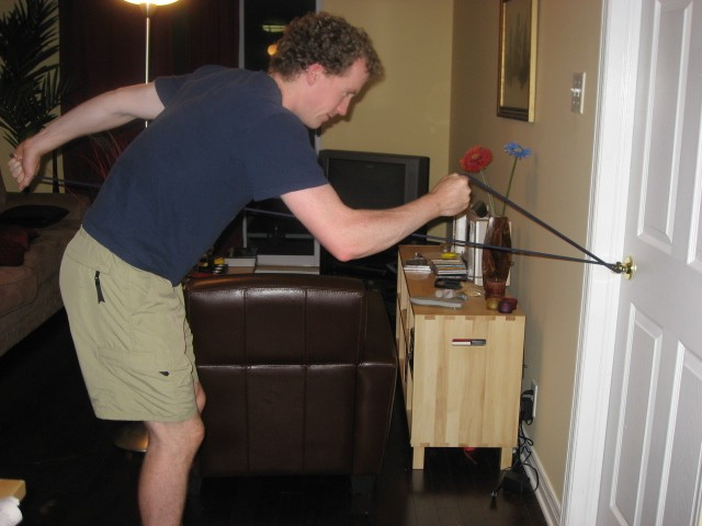 XC Skiing resistance training with rubber bands